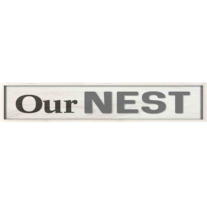 6X36 Our Nest Framed Textured Art With Lifted Word