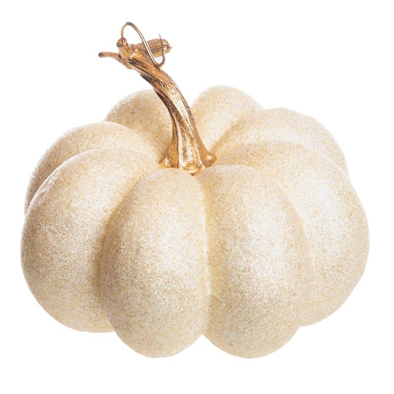 """White Glitter Pumpkin, 5"""""""