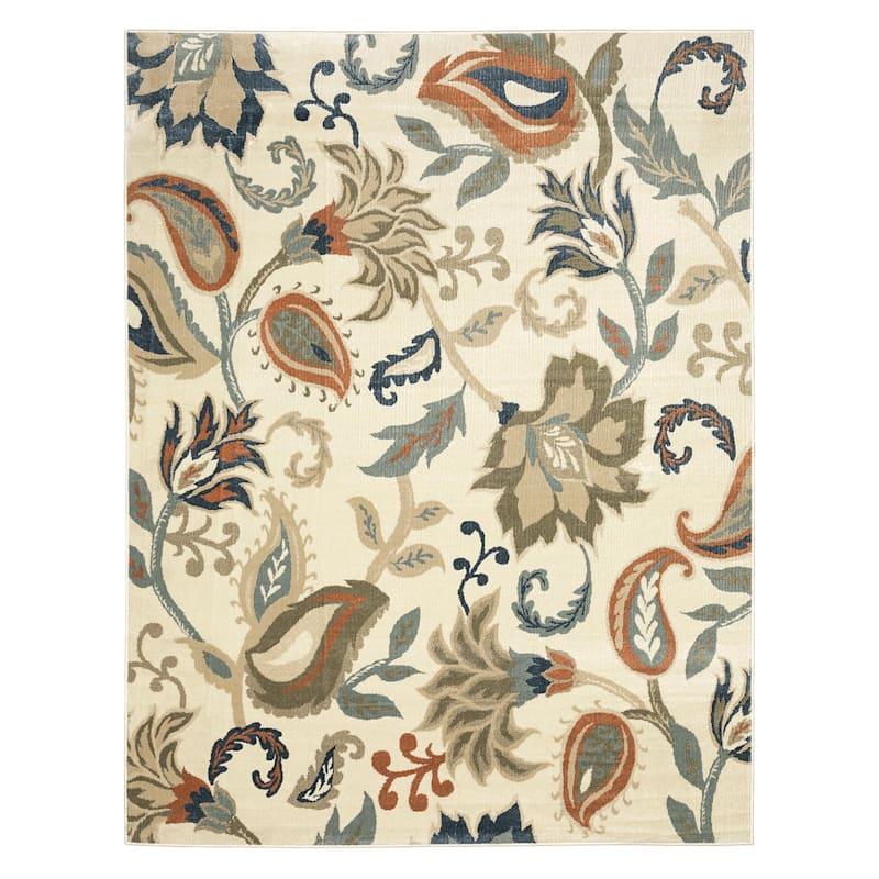 (D463) Floral Pattern Ivory, Grey & Denim Blue, 8x10