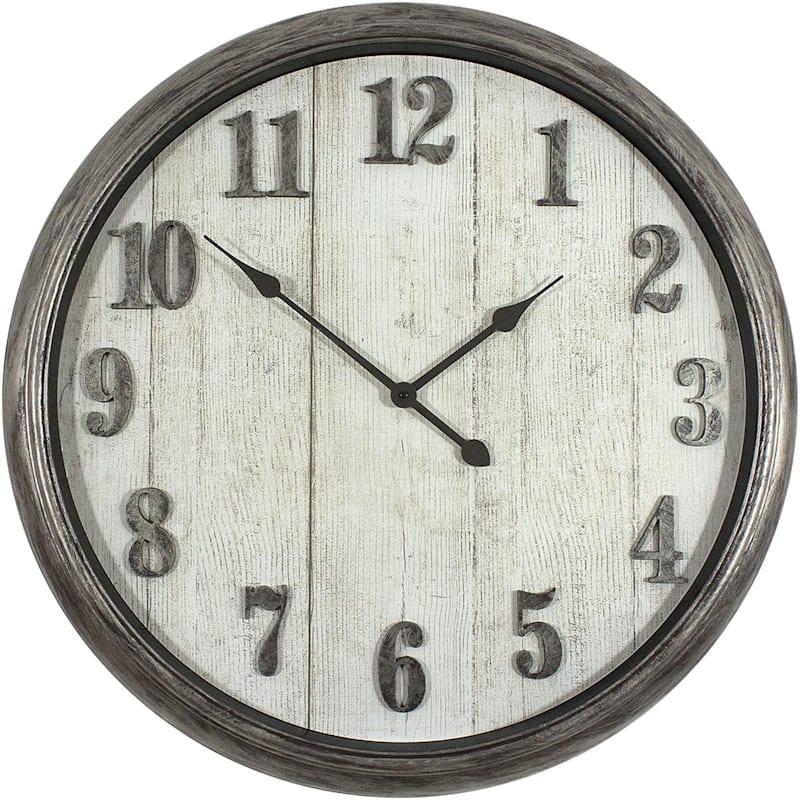 30X30 Grey Distressed Deep Dish Clock With Raised Metallic Numbers
