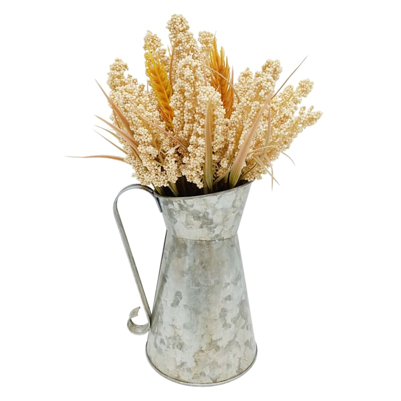 Heather & Wheat in Tin Pitcher, 12in