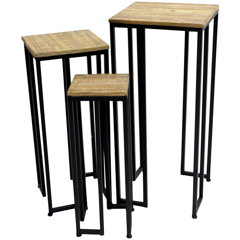 Square Wood Top Plant Stand With Black Metal Base, Large