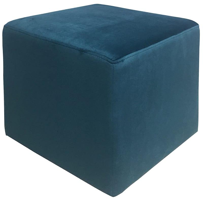 Addie Navy Velvet Cube Ottoman