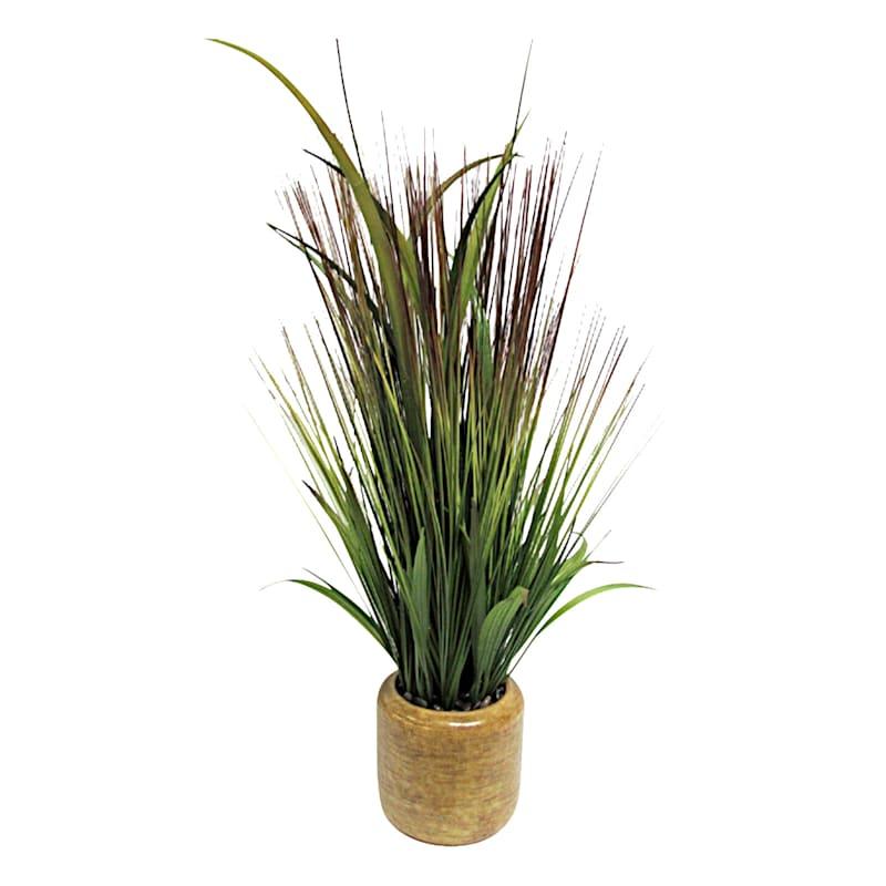 22in. Grass In Yellow Ceramic Pot