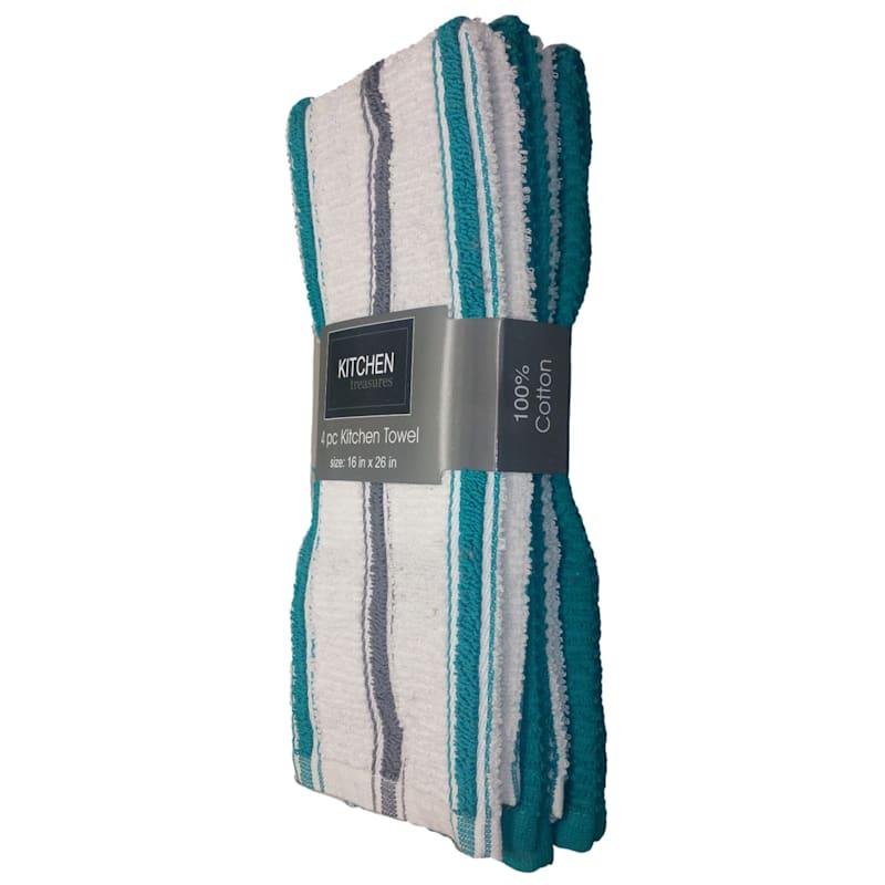 4-Piece Teal/Dark Grey Stripe Kitchen Towel