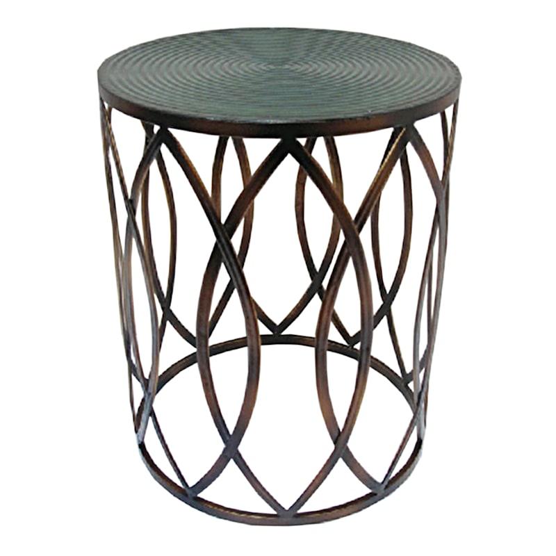 Copper Round Metal Side Table, Medium