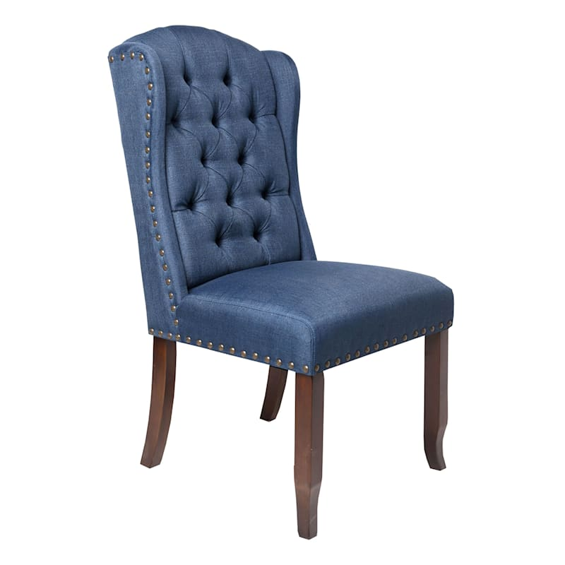 Aahmad Blue Tufted Wing Dining Chair
