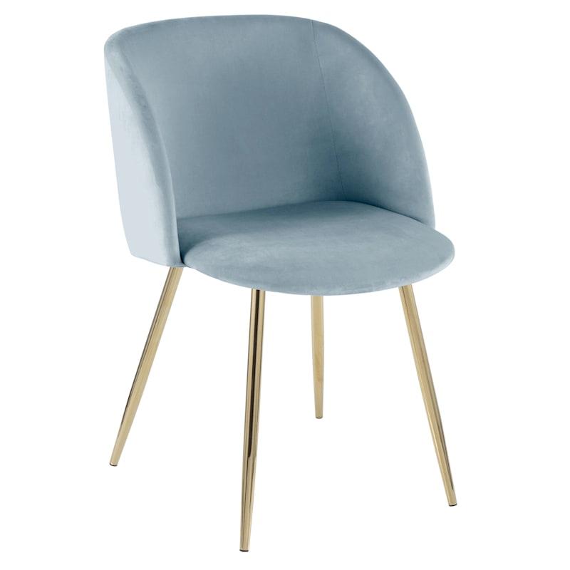 Fran Blue & Gold Velvet Glam Dining Chair