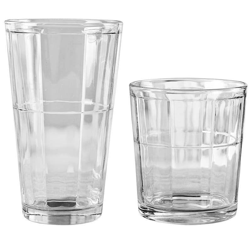 Boardwalk 16-Piece Glassware Set 8 Coolers/8 Double Old Fashioned Glasses