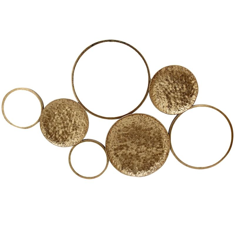39X23 Metal Gold Multi Circles Wall Mirror