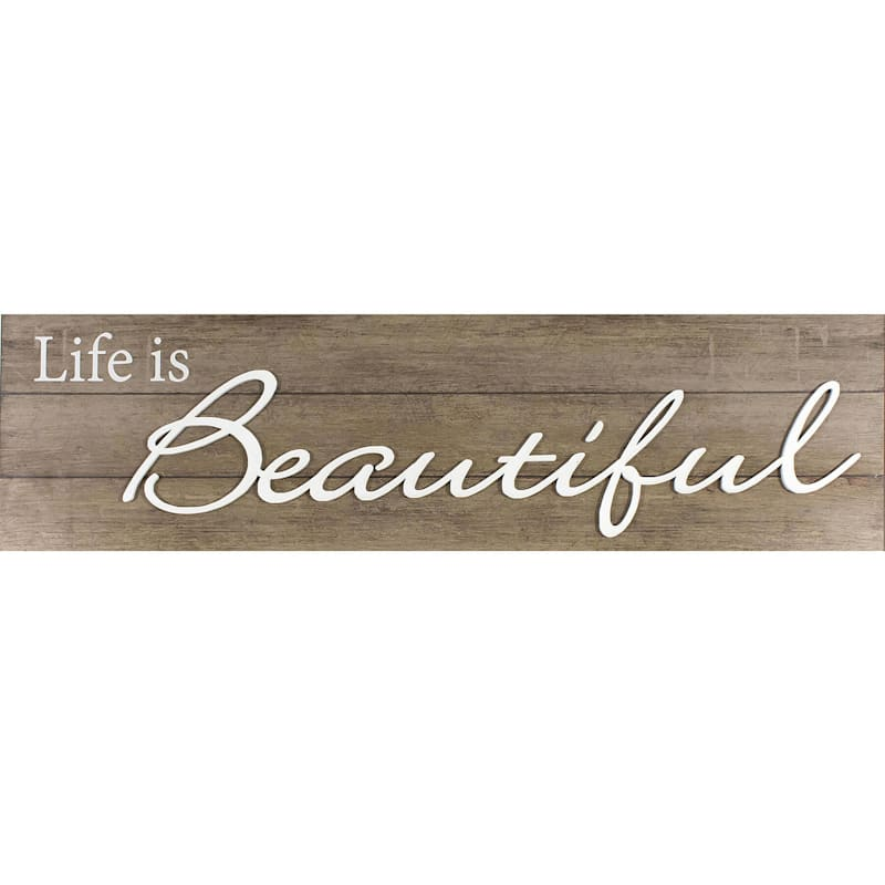 10X36 Life Is Beautiful Plaque With Lifted Word