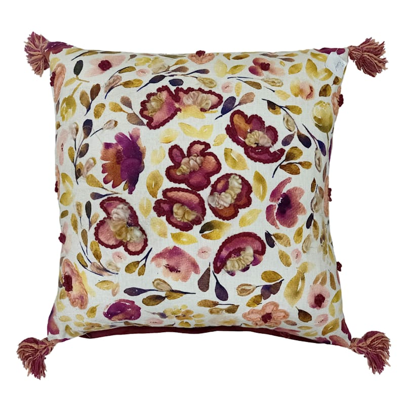 """Embroidered Floral Throw Pillow, 20"""""""