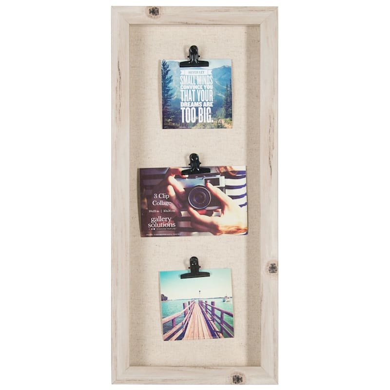 3-Opening 4X6 Distressed Linear Photo Clip Collage Wall Frame