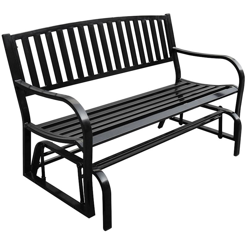 Outdoor Black Double Steel Glider Bench, Garden Glider Bench