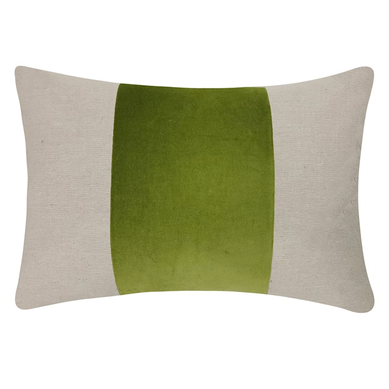 "Grace Mitchell Green Velvet Stripe Linen Throw Pillow, 14"""