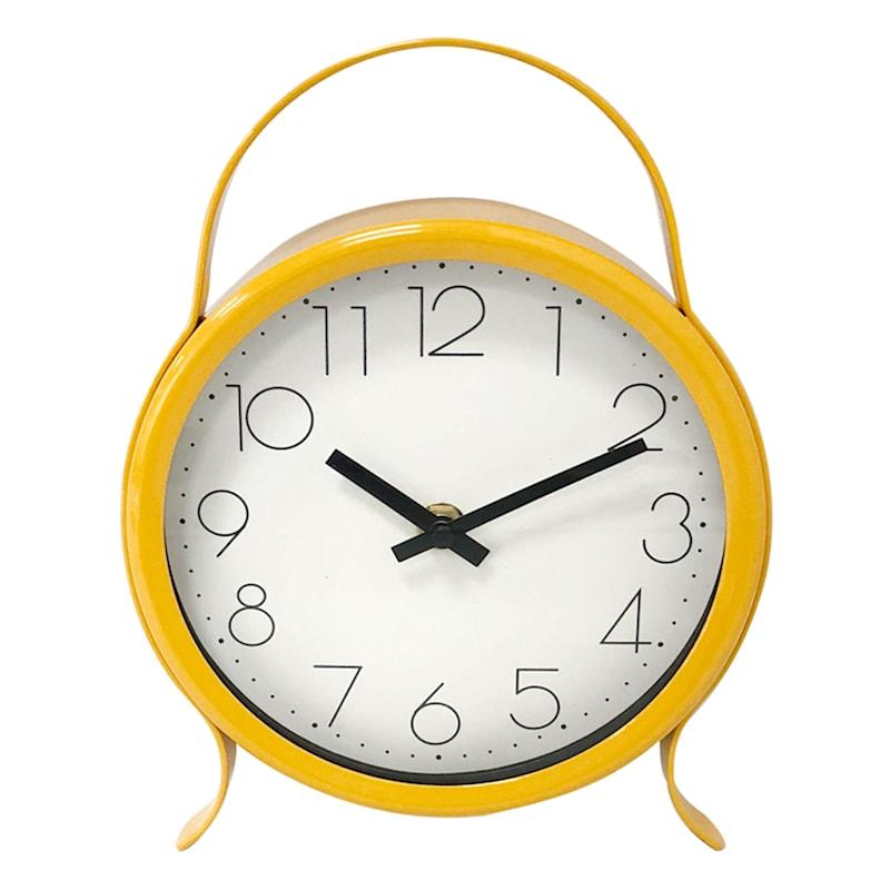 7X9 Metal Yellow Clock With Handle