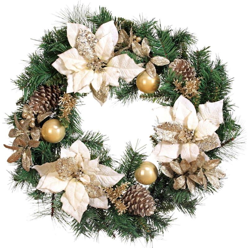 24-in Glitter, Velvet Poinsettia and Ornament Wreath