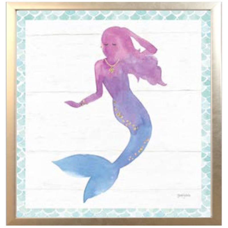 13X13 Mermaid Friends Canvas Framed Art