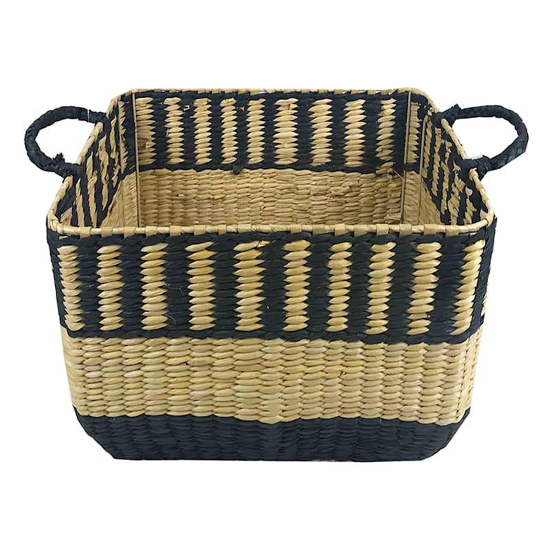 Large Cattail Storage Basket/Black Paper
