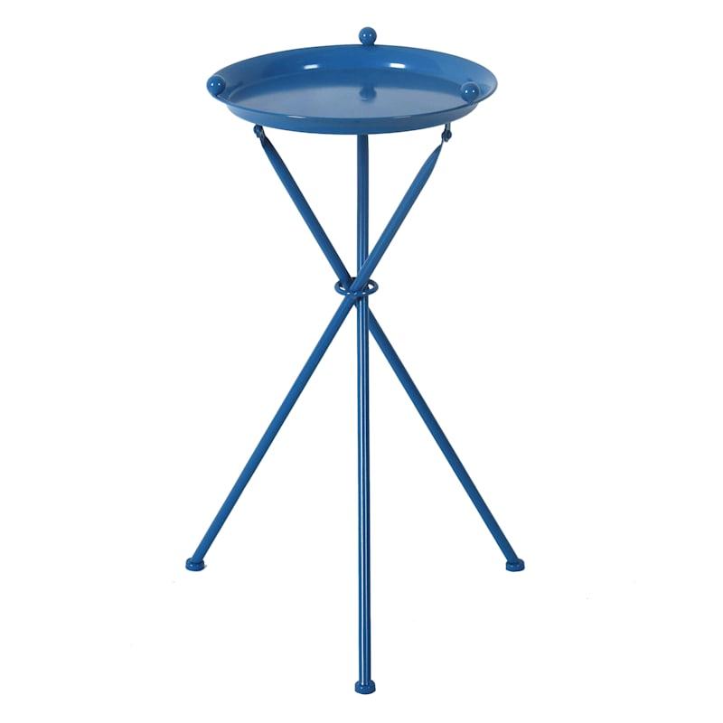 "Blue Metal Table, 24"""