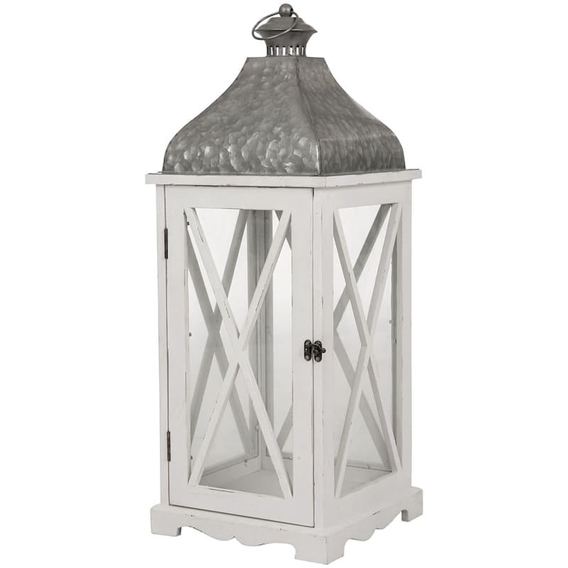 9X24 Wood White Galvanized Lantern