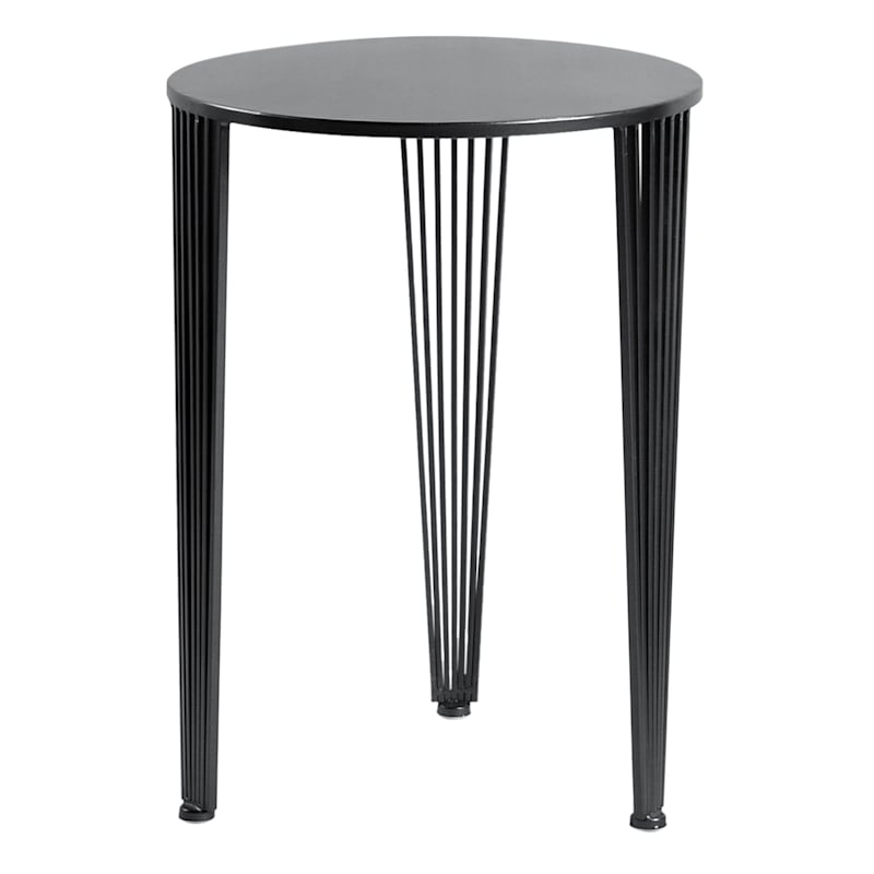 Round Black Metal Accent Table With Wire Legs, Large