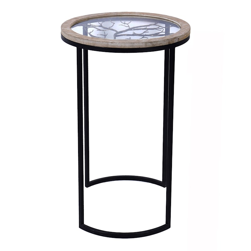 Wood With Glass Top Accent Table With Tree Design Metal Base, Large