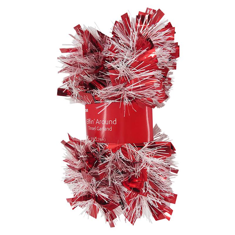 Red & White Boa Christmas Tinsel, 9'