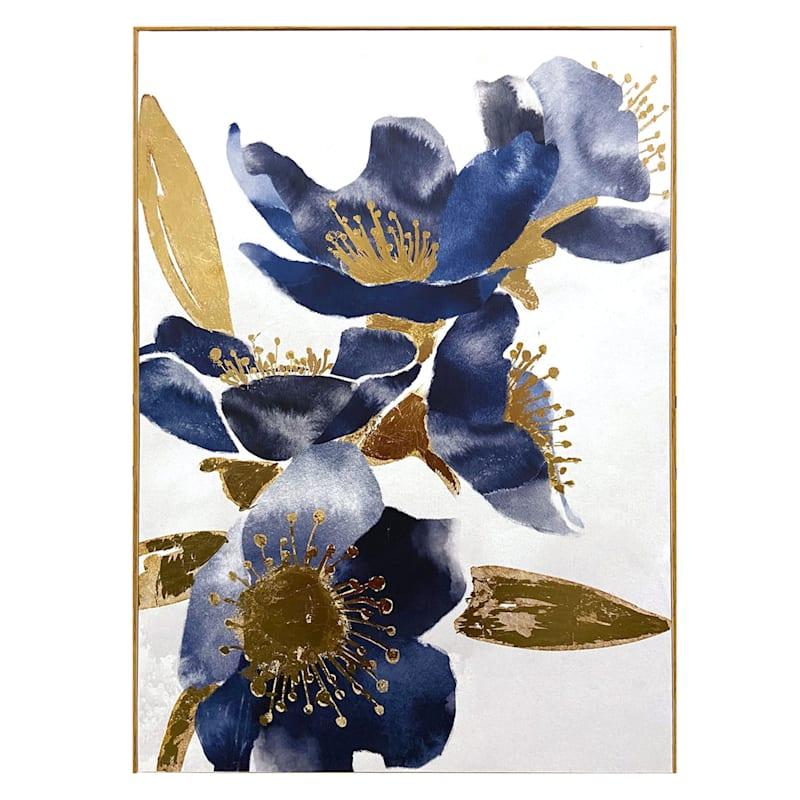 20X30 Blue/Gold Floral Canvas