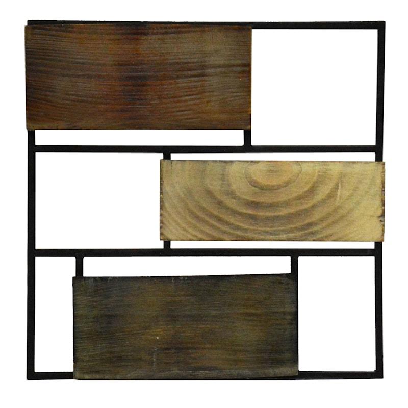 12X12 Metal Wood Brown Asymmetry Plank Wall Decor