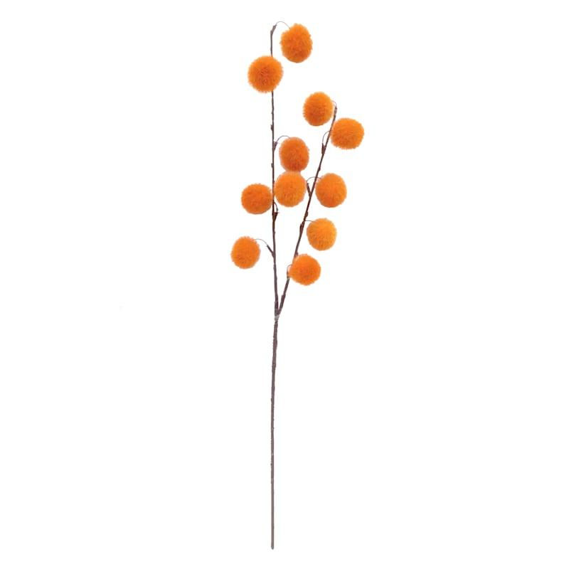 "Orange Pom Pom Stem, 30"""
