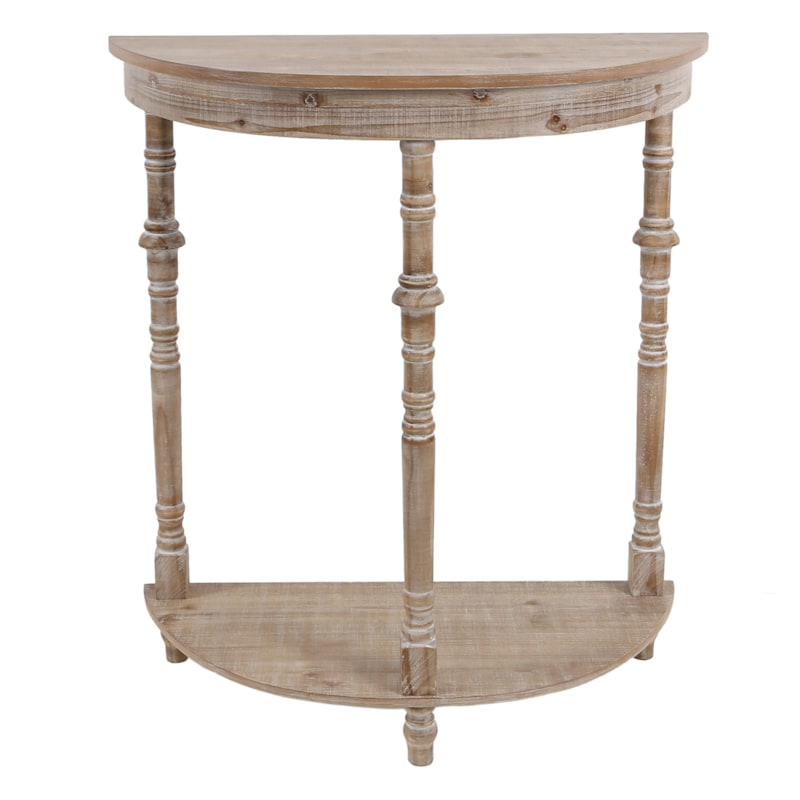Rounded Turned Leg Wooden Console