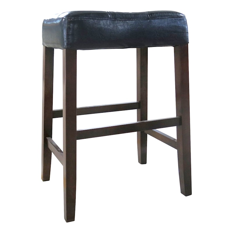 Madison Brown Backless Barstool with Faux Leather Upholstered Seat