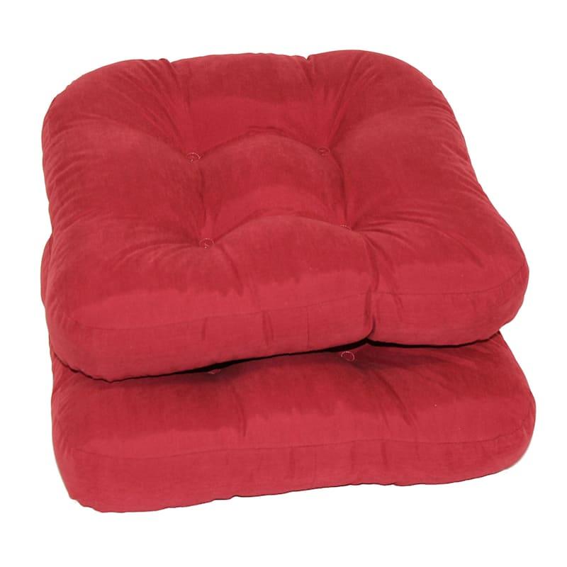 Microsuede 2-Pack Chair Pad/4 Tacks/Ties Red