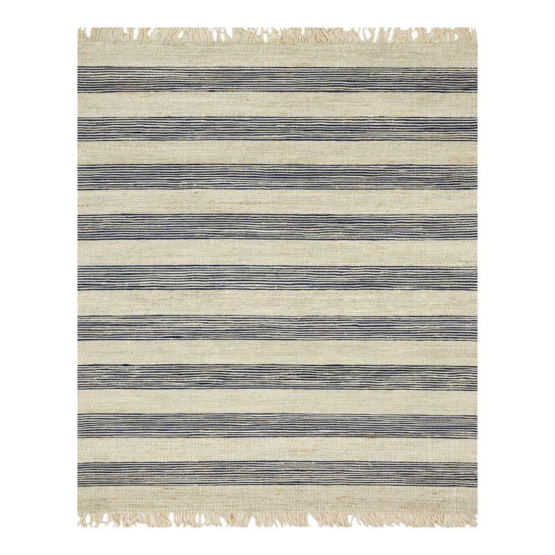 (B497) Hazel Stripe Natural & Navy Hand Woven Jute Area Rug, 8x10