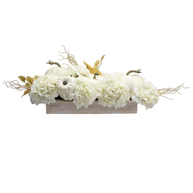 White Pumpkin & Hydrangea Arrangement in Rectangular Pot