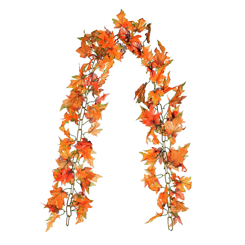 Orange Maple Leaves Chain Garland, 6'