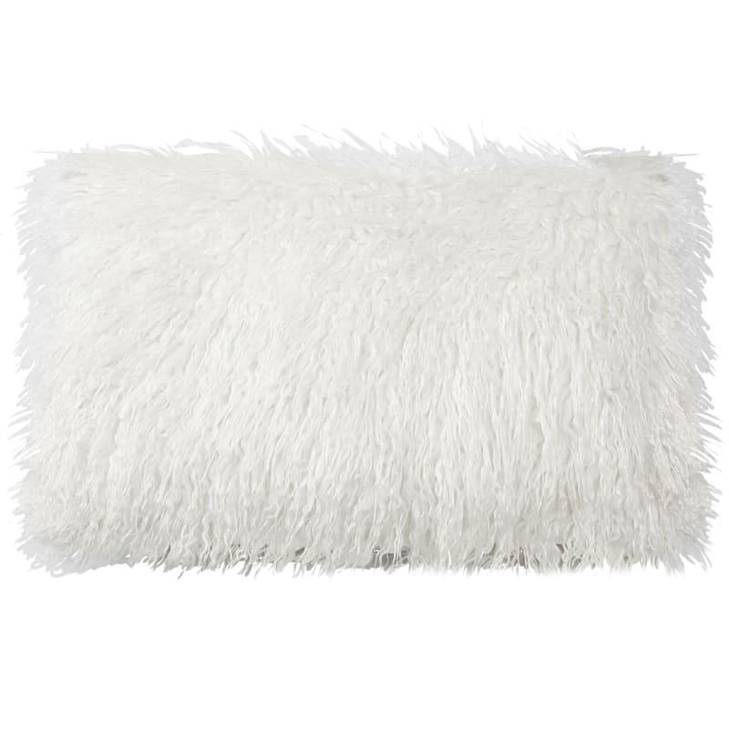 Luca White Faux Fur Pillow 13X23