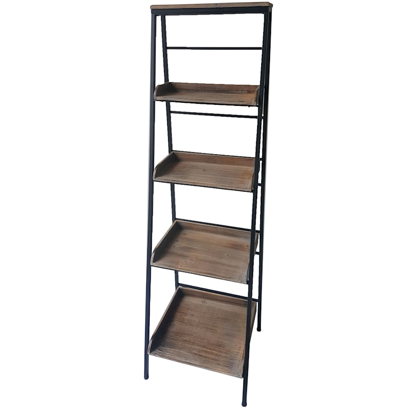Black Metal Folding Rack With Wood Tray Layer