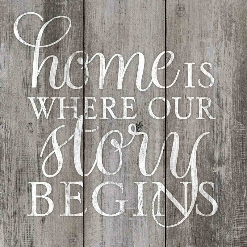 18X18 Home Is Where Our Story Begins Framed Textured Art