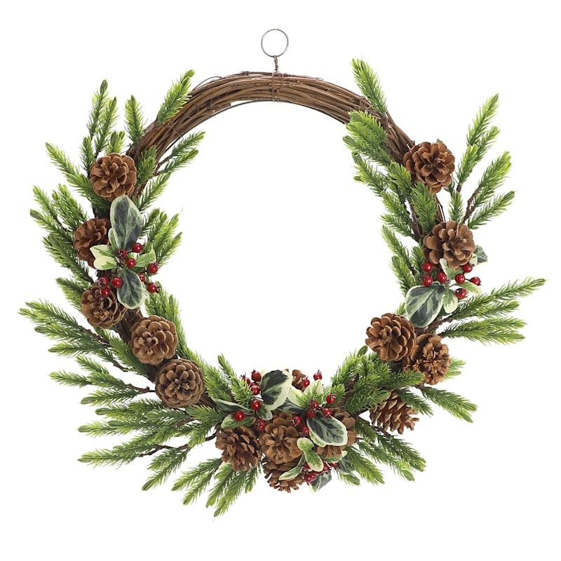 """Pinecones & Berries Wreath, 19"""""""