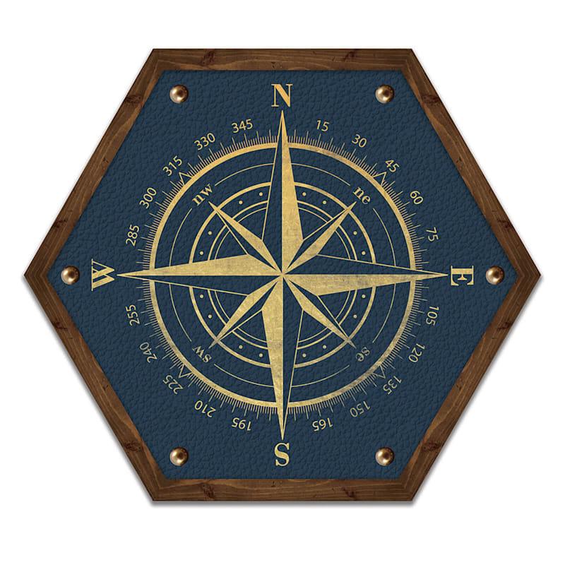 10X12 Blue Compass Hexagon Wood Wall Art
