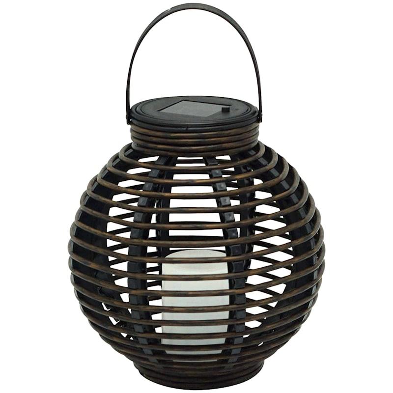 9X9 Black Faux Rattan Solar Lantern