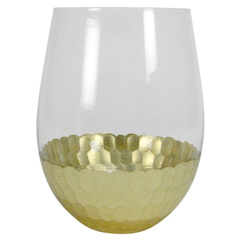 18oz Gold Mosaic Stemless Glass