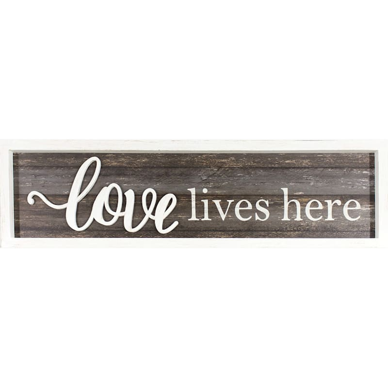 8X30 Love Lives Here Framed Textured Art With Lifted Word