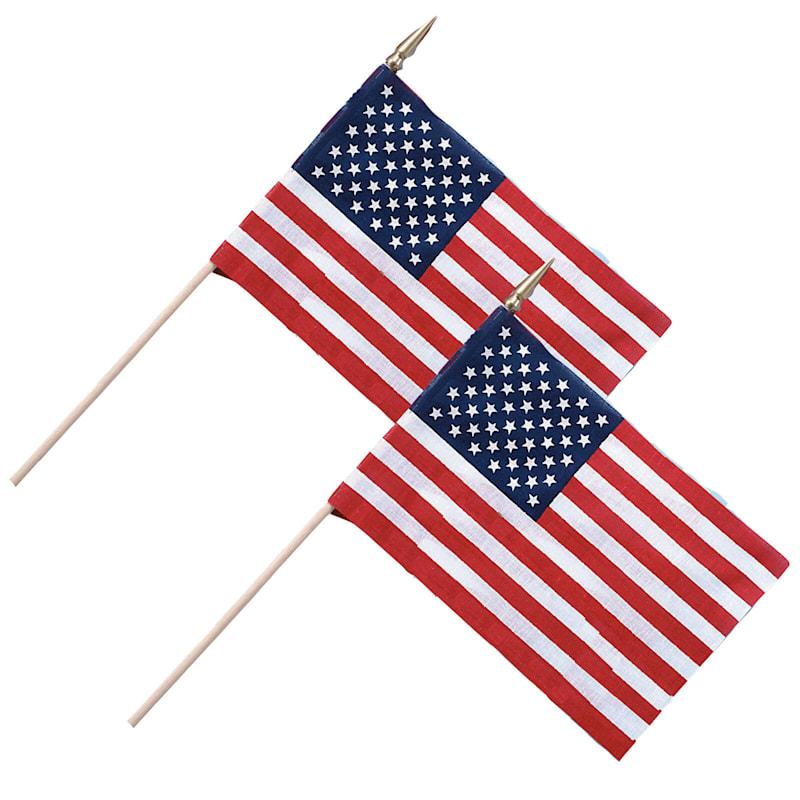 8X12 USA Hand Flag On Wood Stick/Gold Tip