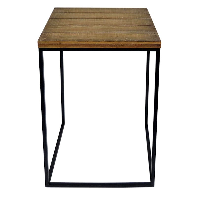 Square Wood Top Plant Stand With Metal Base, Large