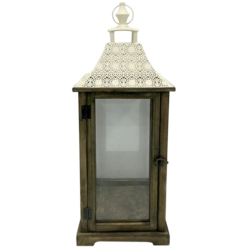 """Ivory Wood & Metal Lantern, 12"""""""