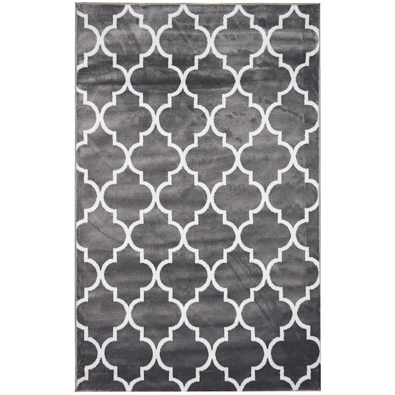 (D394) Dark Grey & White Modern Quatrefoil Design, 3x5