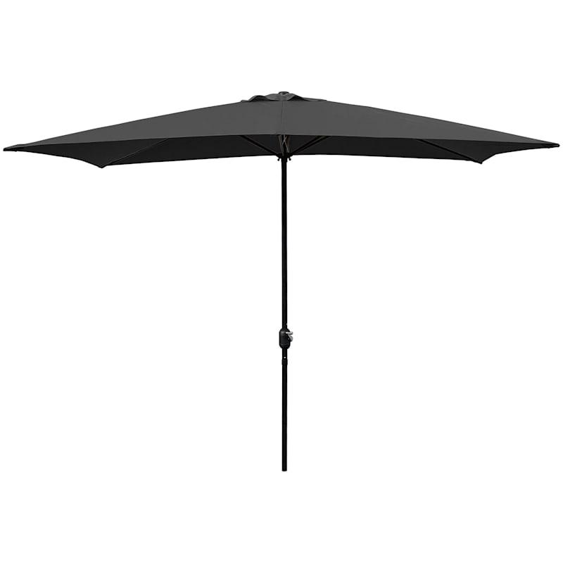 Black Rectangular Steel Outdoor Umbrella, 6.5x10